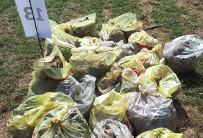 Lewende Woord Educational Waste Cleanup - Bags of collected trash