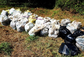 These bags contain the trash collected on the Hennops River on the day of the cleanup