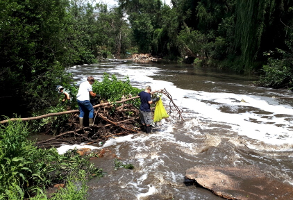 Families in the Centurion area helping clean the pollution on the Hennops River